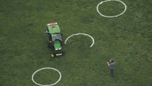 Physical distancing circles are being painted on the grass at Toronto's Trinity Bellwoods Park. (CTV News Toronto Chopper)