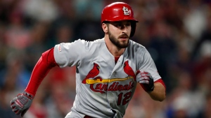 In this Sept. 10, 2019, file photo, St. Louis Cardinals shortstop Paul DeJong (12) runs the bases in the ninth inning of a baseball game against the St. Louis Cardinals in Denver. (AP Photo/David Zalubowski, File)