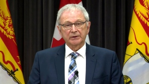 New Brunswick Premier Blaine Higgs provides an update on COVID-19 during a news conference in Fredericton on Thursday, May 27, 2020.