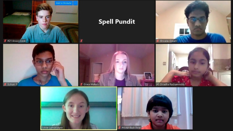 Spellers and organizers of the SpellPundit Online National Spelling Bee participate in semifinals on May 26, 2020. (SpellPundit via AP)