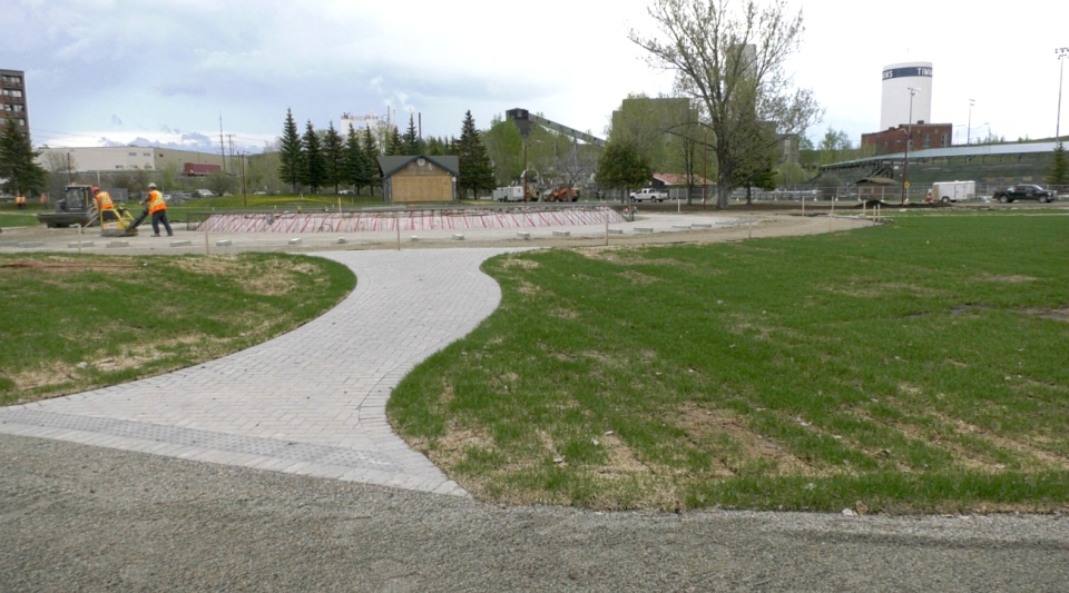 When the state of emergency is lifted and people are allowed to congregate again, residents who visit Hollinger Park in Timmins will see a whole new look and feel to the high-profile area -- including a sundial. (Lydia Chubak/CTV News)