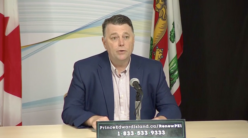 P.E.I. premier Dennis King speaks at an update on May 28, 2020.