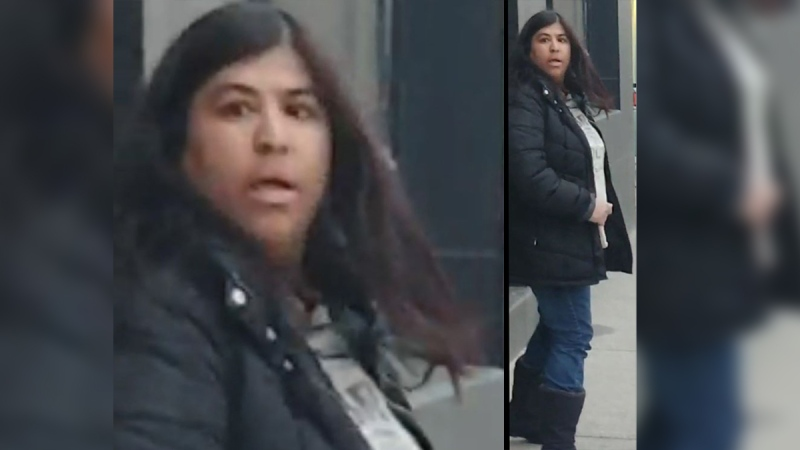 A woman sought in an alleged assault in London, Ont. on Monday, May 11, 2020 is seen in this image released by the London Police Service.
