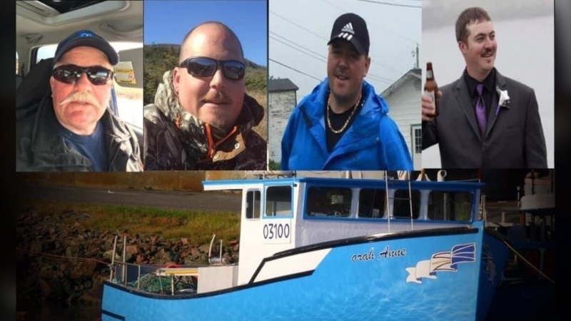 Ed Norman, left to right, Scott Norman, Jody Norman, Isaac Kettle, four fishermen from St. Lawrence, N.L., who went missing while fishing for crab on Monday as shown in this image provided by Melissa Mayo-Norman.  (THE CANADIAN PRESS/HO-Melissa Mayo-Norman)