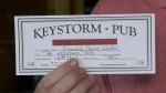 A close-up of a Keystorm Pub gift card. (Nathan Vandermeer / CTV News Ottawa)