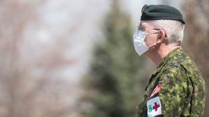 A member of the Canadian Armed Forces is shown at Residence Yvon-Brunet a long term care home in Montreal, Saturday, April 18, 2020, as COVID-19 cases rise in Canada and around the world. THE CANADIAN PRESS/Graham Hughes