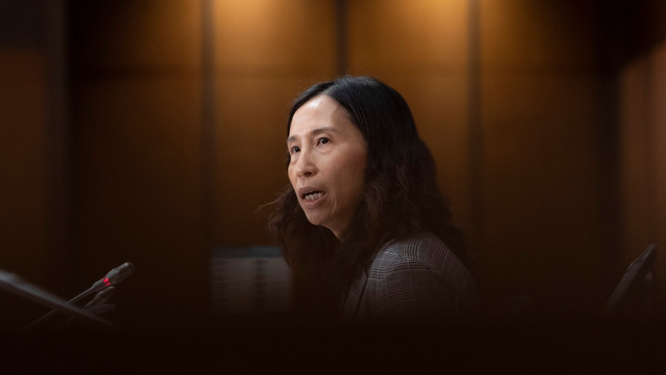 Chief Public Health Officer Theresa Tam responds to a question during a news conference on Parliament Hill Thursday May 28, 2020 in Ottawa. THE CANADIAN PRESS/Adrian Wyld