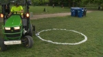 The City of Toronto decided to paint white circles on the grass of the Trinity Bellwoods park, to keep physical distance between people.