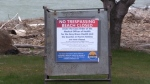 A no trespassing sign is seen as beaches in Grey and Bruce counties closed due to COVID-19. (Scott Miller / CTV London)