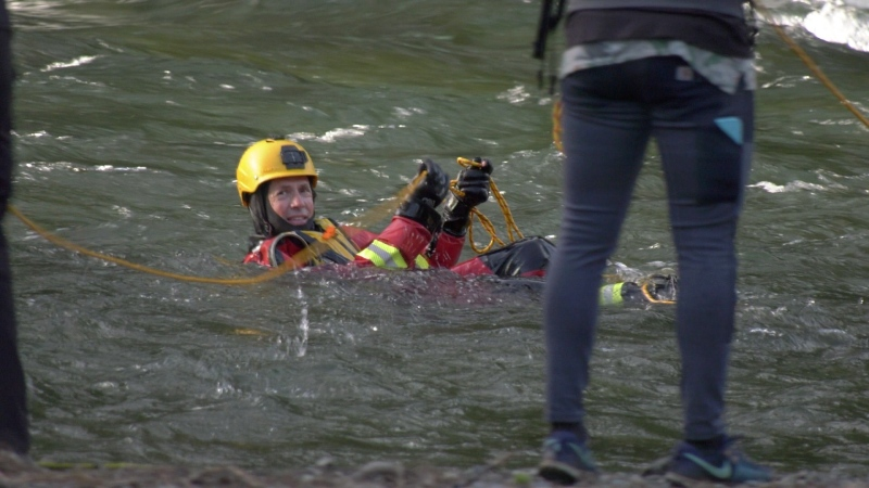 The Comox Valley Ground Search and Rescue team is seen practicing water rescues: May 28, 2020 (CTV News)