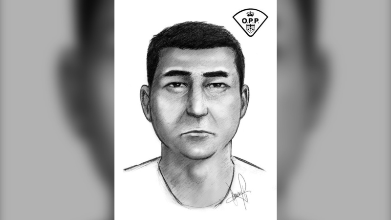 This is a composite sketch of a man wanted in connection with a sexual assault May 6 in Batchewana First Nation. (Supplied)