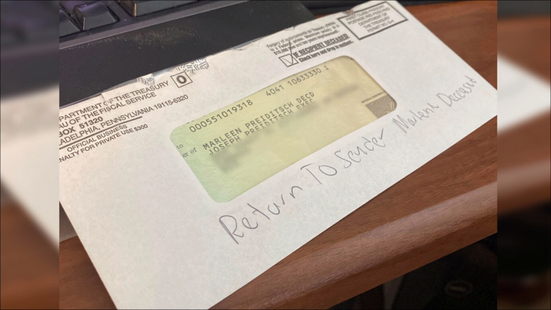 "A U.S. stimulus cheque addressed to ""MARLEEN PREIDITSCH DECD."" Her son, Joe Preiditsch, says her name is actually spelled, ""Marlene."" (Provided)"