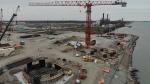 Canadian bridge site progress in Windsor, Ont., on Thursday, May 28, 2020. (Courtesy Windsor Detroit Bridge Authority)