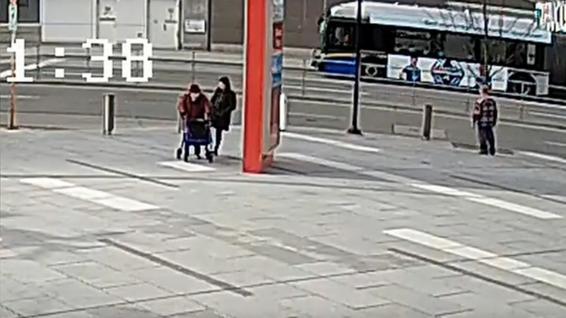 A suspect is shown in the assault of an elderly woman in Burnaby on April 3, 2020. (Still image from video provided by Burnaby RCMP)