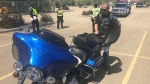 Bikers found out if their engines were too loud as part of the Edmonton Police Service's TENSOR program on Thursday, May 28, 2020. (Darcy Seaton/CTV News Edmonton)