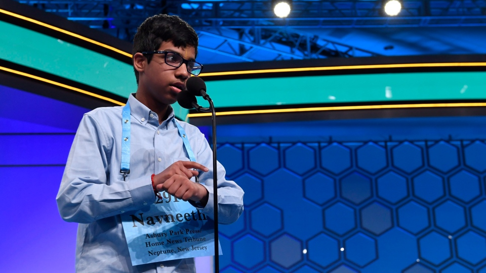 In this file photo, Navneeth Murali, 13, of Edison, N.J., competes in the finals of the Scripps National Spelling Bee in Oxon Hill, Md., Thursday, May 30, 2019. (AP Photo/Susan Walsh)