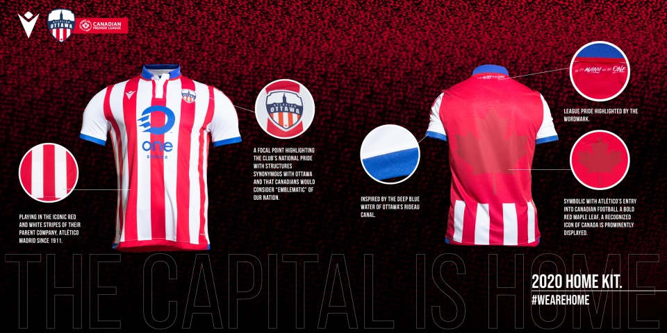 A view of the front and back of Atlético Ottawa's new home jersey. (Photo: Atlético Ottawa, Canadian Premier League)