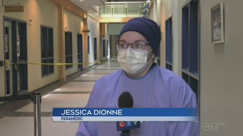 Jessica Dionne is a paramedic for Cochrane District Emergency Medical Services working at a Timmins COVID-19 Assessment Centre. May 28/20 (Lydia Chubak/CTV Northern Ontario)