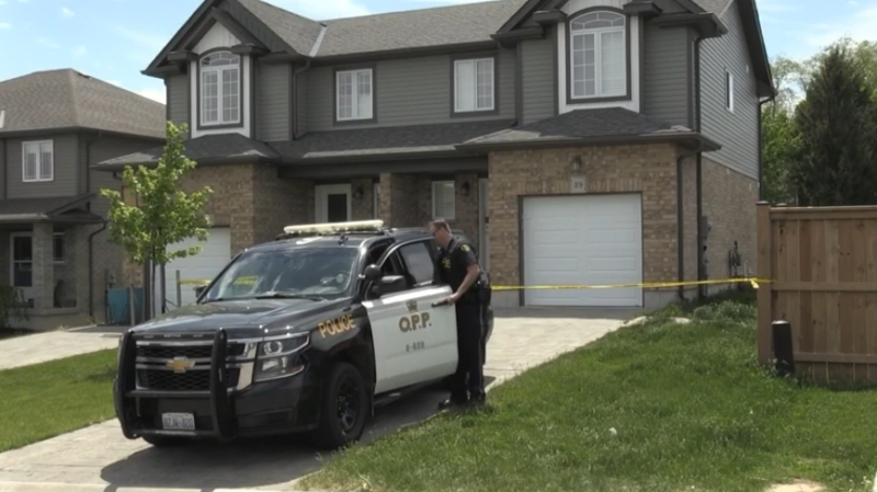 An OPP cruiser is at the scene of a sudden death in Thorndale, Ont. on Wednesday, May 27, 2020. (Jim Knight / CTV London)