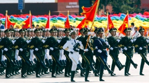 Chinese soldiers march during a military parade in Beijing to mark the 60th anniversary of China, Thursday, Oct. 1, 2009. (AP / Ng Han Guan)