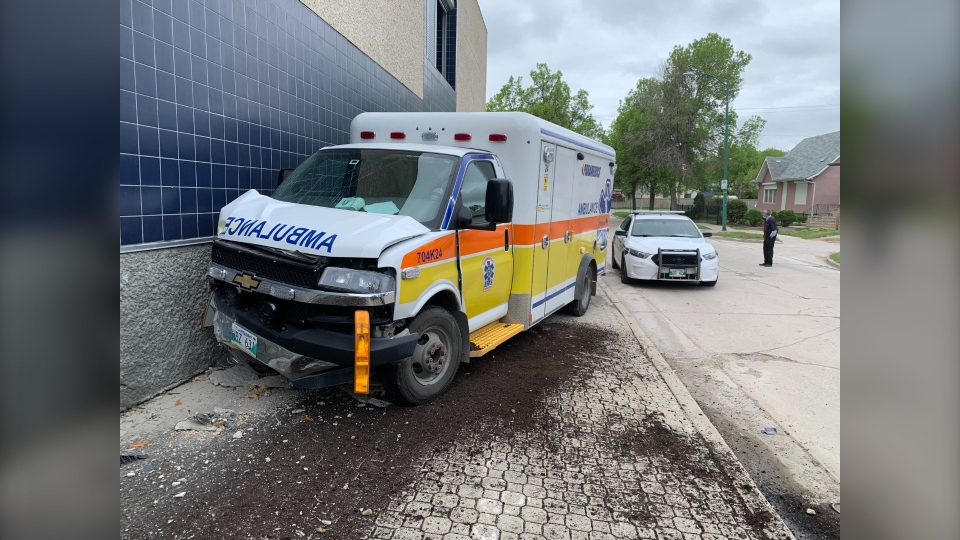One person was taken into custody after an ambulance was stolen Friday morning. The ambulance crashed into the Portuguese Cultural Centre (CTV News Photo Jamie Dowsett)