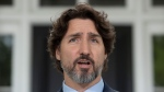 Prime Minister Justin Trudeau speaks during a news conference outside Rideau Cottage in Ottawa, Friday May 29, 2020. THE CANADIAN PRESS/Adrian Wyld