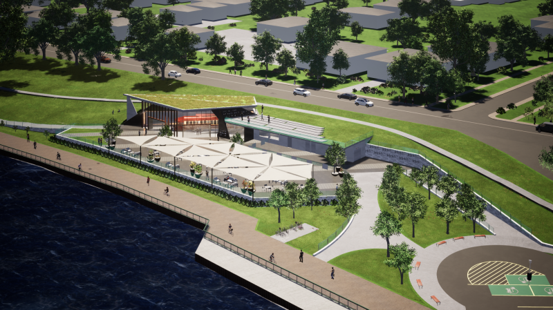 Concept drawings of new celestial beacon site along Windsor's Riverfront, the proposed location of the restored Streetcar 351 (Source: City of Windsor / Architecttura Inc.)