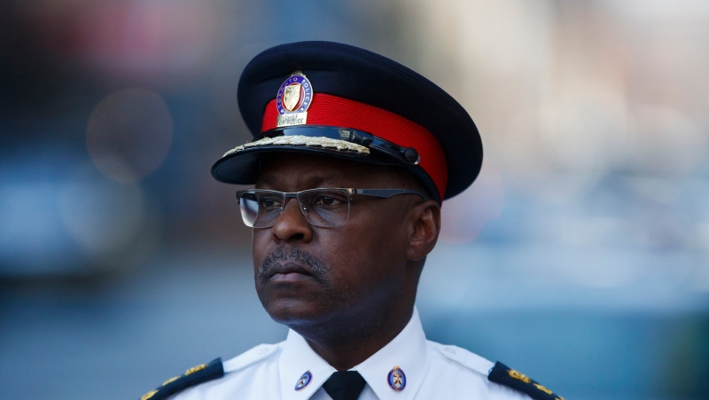 Toronto Police Chief Mark Saunders addresses media following a shooting in downtown Toronto, Tuesday, May 26, 2020. THE CANADIAN PRESS/Cole Burston