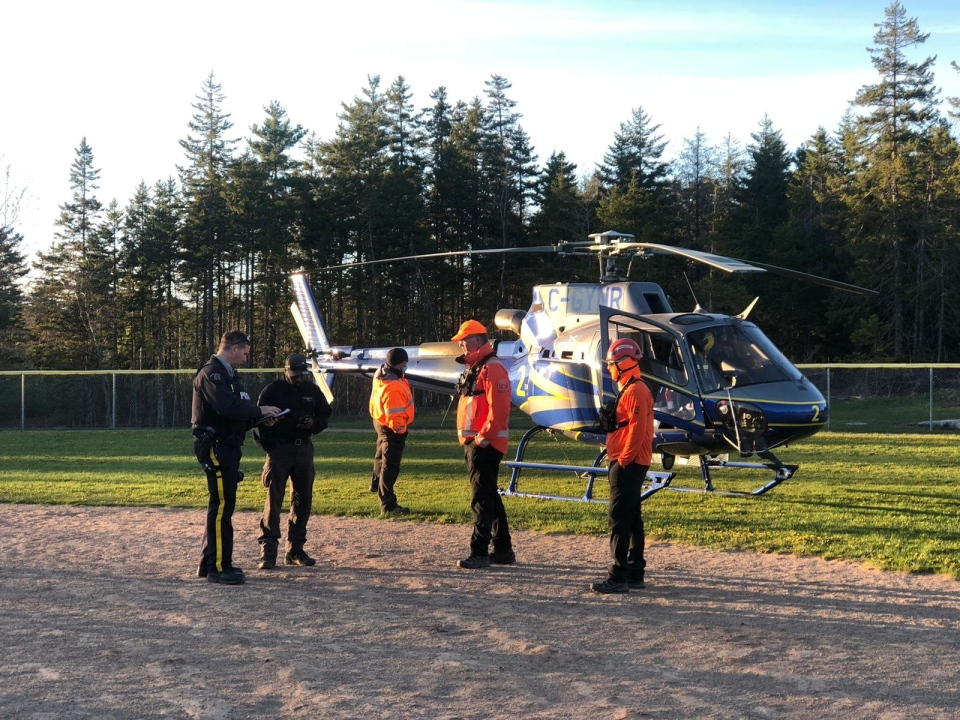 A helicopter from N.S. Department of Lands and Forestry was called in to remove the women from the woods. (Photo: Cecilia Khamete)