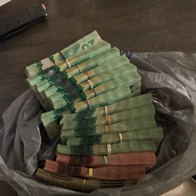 Cash seized in a London Ont. raid