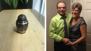 Adam Mandryk is looking for the urn that held the ashes of his father, Bill Lacroix, pictured right, which went missing after his vehicle was broken into May 23, 2020. (Photos provided.)