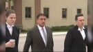 Manuel Ruiz (middle) leaves the law courts on Friday during a break in his trial (CTV News Photo Josh Crabb)