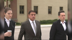 Manuel Ruiz (middle) leaves the law courts on May 29, 2020, during a break in his trial. (CTV News Photo Josh Crabb)