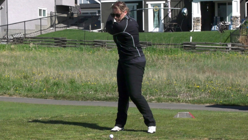 Noelle Carrier was laid off during the pandemic, but thanks to the generosity of members of the Muirfield Lakes Golf Club in Lyalta, Alberta, she is able to enjoy a free round of golf. Members and the club's owners have donated more than 80 free rounds so far.