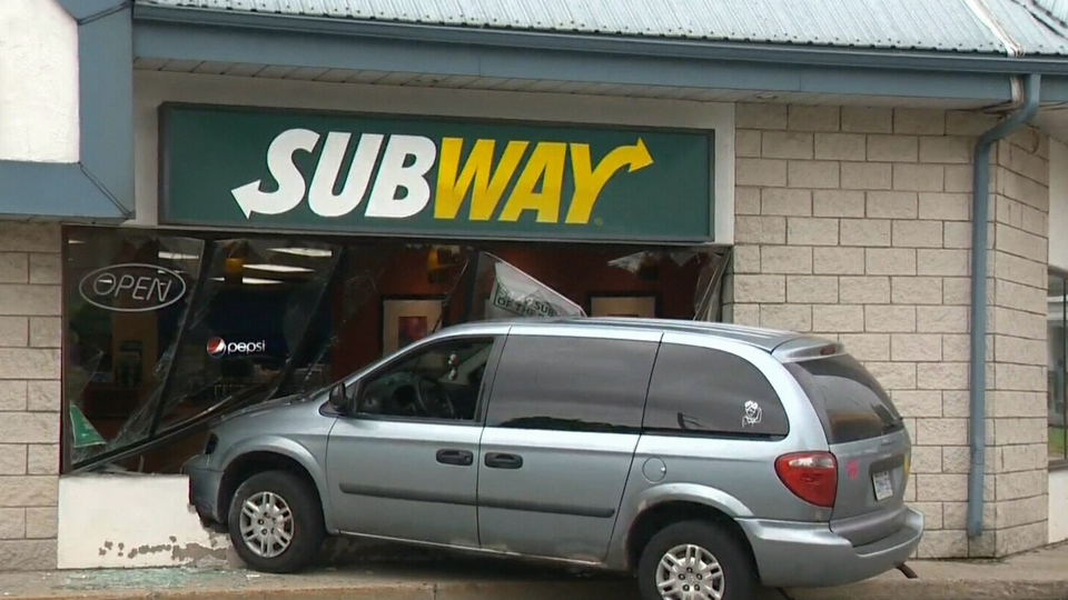 Van smashes through front of Subway in Cambridge