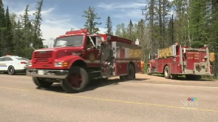 Moncton fire responded to a forest fire near Canaan Station, N.B. on Friday afternoon. The Department of Natural Resources says the fire was about two hectares in size and that no homes were in danger.