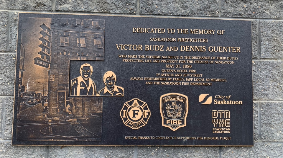 A plaque dedicated to Victor Budz and Dennis Guenter.