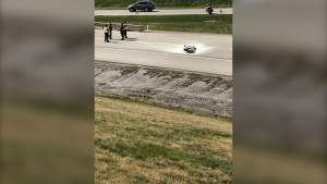 A man is in life-threatening condition following an accident at Deerfoot and Stoney Trail Friday afternoon