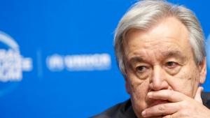 In this Dec. 17, 2019 file photo, U.N. Secretary-General Antonio Guterres attends the UNHCR - Global Refugee Forum at the European headquarters of the United Nations in Geneva, Switzerland. (Salvatore Di Nolfi/Keystone via AP, File)
