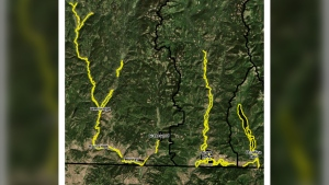This map from the Regional District of Kootenay Boundary shows areas affected by the evacuation alert in yellow. More details can be found on the regional district's website.
