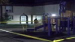 Police tape is shown at the scene of a shooting at a Rexdale housing complex.