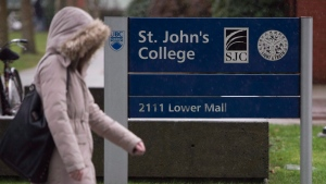 A student walks past St. John's College at UBC in Vancouver, Thursday, Jan. 21, 2016. THE CANADIAN PRESS/Jonathan Hayward