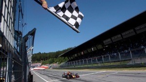 In this Sunday, June 30, 2019 file photo, a view of the Red Bull Ring racetrack in Spielberg, southern Austria. (Christian Bruna, Pool via AP, File)