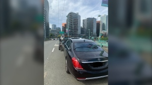 Sgt. Mark Christensen posted a photo on Twitter Friday evening showing the Mercedes Benz Maybach he clocked going 100 km/h across the Cambie Bridge in Vancouver, which has a 50 km/h speed limit. (Twitter)