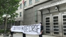 "A group held a ""Justice 4 George"" rally outside the U.S. Embassy in Ottawa following the death of George Floyd in Minnesota. (Leah Larocque/CTV News Ottawa)"