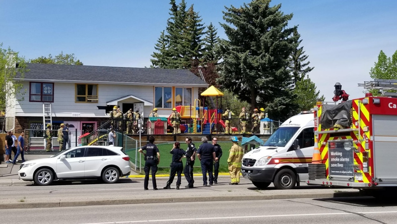 The Calgary Fire Department says all the occupants of a daycare building in Canyon Meadows got out safely after it caught fire Saturday.