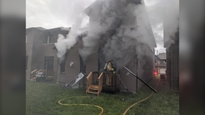 Fire damages an unoccupied structure on Avro Circle in Ottawa's east-end. (Photo courtesy: Twitter/OFSFirePhoto)