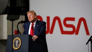 President Donald Trump speaks during an event at the Vehicle Assembly Building on Saturday, May 23, 2020, after viewing the SpaceX flight at NASA's Kennedy Space Center in Cape Canaveral, Fla. A rocket ship designed and built by SpaceX lifted off on Saturday with two Americans on a history-making flight to the International Space Station. (AP Photo/Alex Brandon)