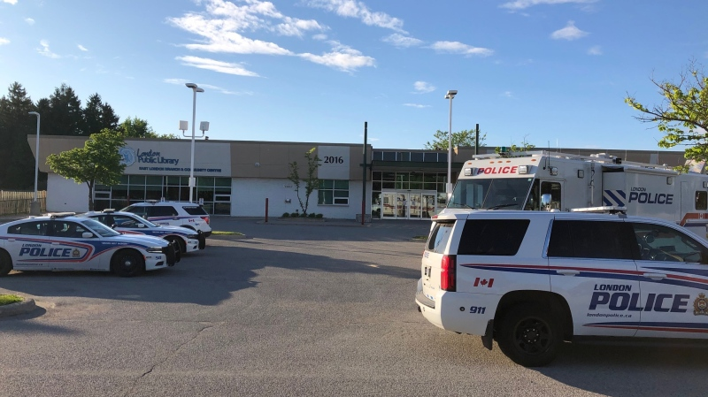 Police command center set up in the parking lot of 2016 Dundas Street on Saturday, May 30. 2020. (Jordyn Read / CTV London)