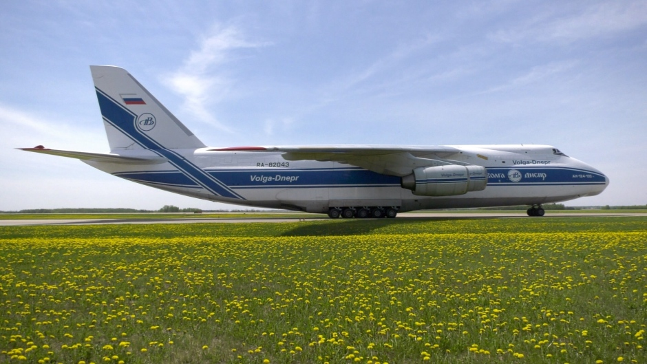 The Antonov AN-124 at the Edmonton International Airport.